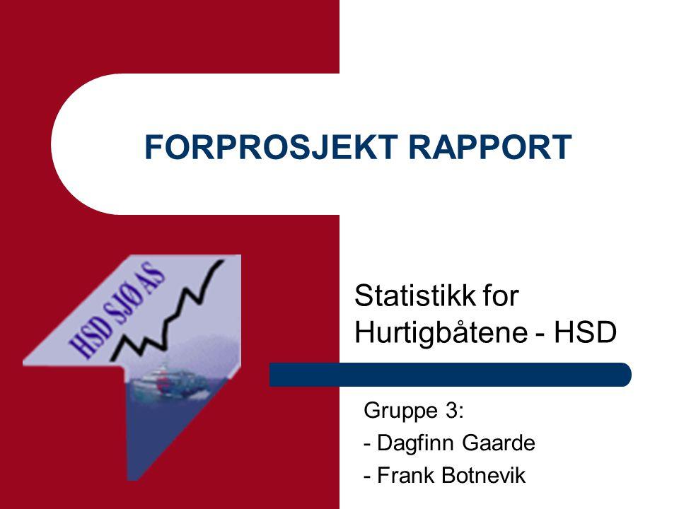FORPROSJEKT RAPPORT Statistikk for Hurtigbåtene - HSD Gruppe 3: - Dagfinn Gaarde - Frank Botnevik