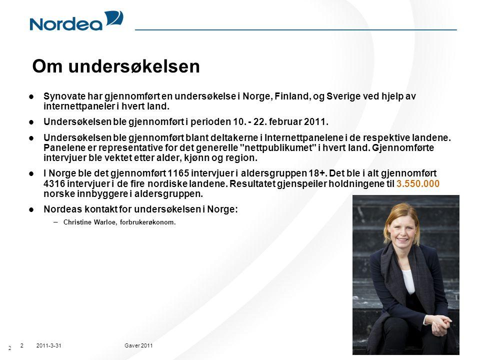 2011-3-31Gaver 20112 Om undersøkelsen  Synovate har gjennomført en undersøkelse i Norge, Finland, og Sverige ved hjelp av internettpaneler i hvert la
