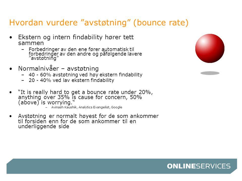 """Hvordan vurdere """"avstøtning"""" (bounce rate) •Ekstern og intern findability hører tett sammen –Forbedringer av den ene fører automatisk til forbedringer"""