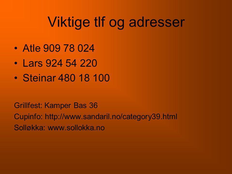 Viktige tlf og adresser •Atle 909 78 024 •Lars 924 54 220 •Steinar 480 18 100 Grillfest: Kamper Bas 36 Cupinfo: http://www.sandaril.no/category39.html Solløkka: www.sollokka.no