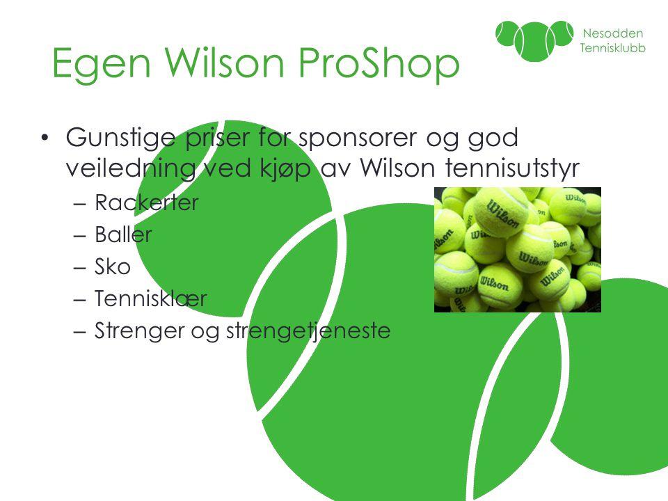 Egen Wilson ProShop • Gunstige priser for sponsorer og god veiledning ved kjøp av Wilson tennisutstyr – Rackerter – Baller – Sko – Tennisklær – Streng