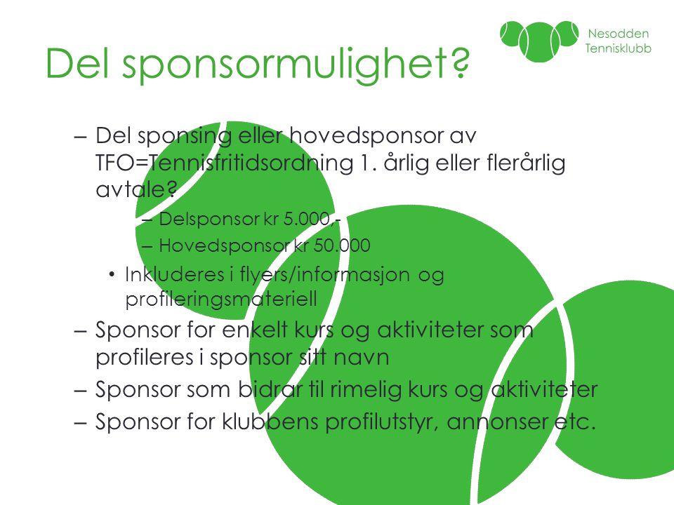Del sponsormulighet? – Del sponsing eller hovedsponsor av TFO=Tennisfritidsordning 1. årlig eller flerårlig avtale? – Delsponsor kr 5.000,- – Hovedspo
