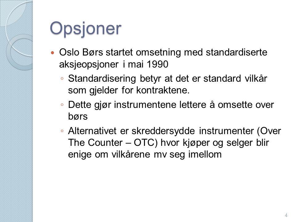 Opsjoner  Oslo Børs startet omsetning med standardiserte aksjeopsjoner i mai 1990 ◦ Standardisering betyr at det er standard vilkår som gjelder for k
