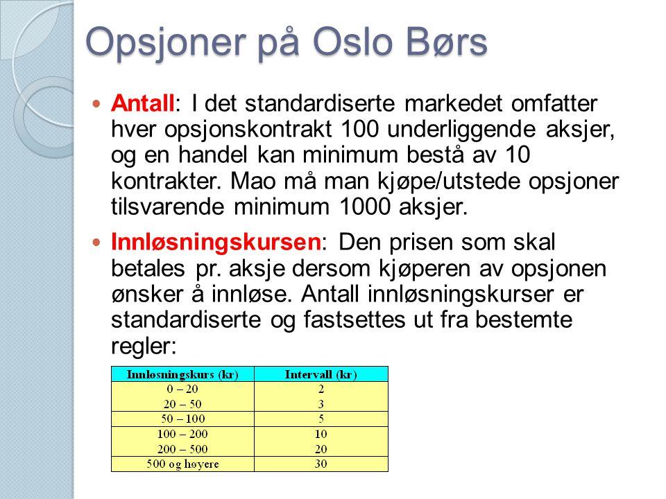 Opsjoner på Oslo Børs  Antall: I det standardiserte markedet omfatter hver opsjonskontrakt 100 underliggende aksjer, og en handel kan minimum bestå a