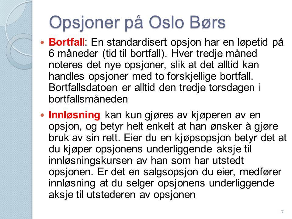 Opsjoner på Oslo Børs  Bortfall: En standardisert opsjon har en løpetid på 6 måneder (tid til bortfall). Hver tredje måned noteres det nye opsjoner,