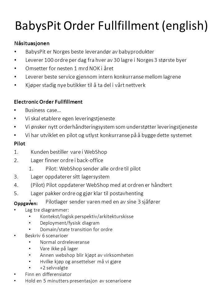 BabysPit Order Fullfillment (english) Nåsituasjonen • BabysPit er Norges beste leverandør av babyprodukter • Leverer 100 ordre per dag fra hver av 30