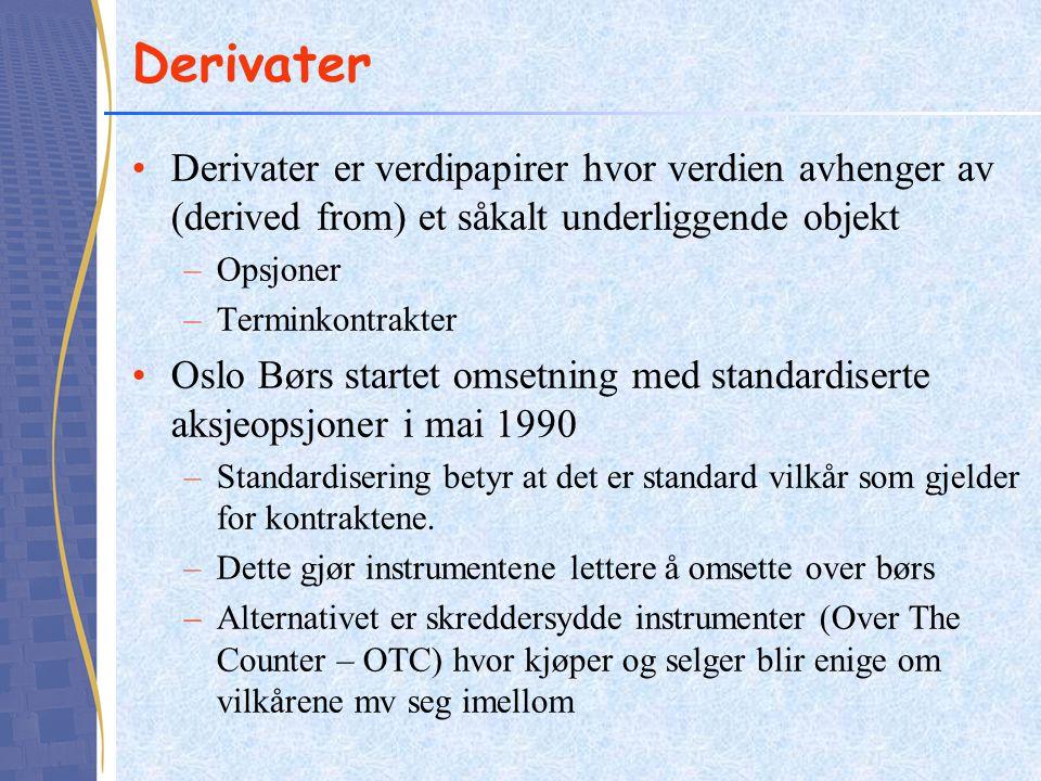Derivater •Derivater er verdipapirer hvor verdien avhenger av (derived from) et såkalt underliggende objekt –Opsjoner –Terminkontrakter •Oslo Børs sta