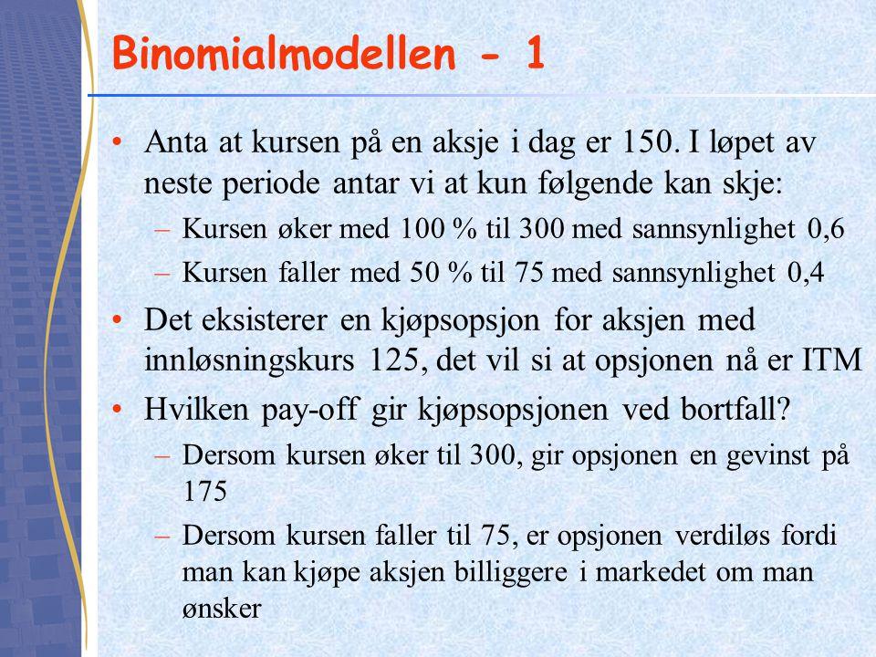 Binomialmodellen - 1 •Anta at kursen på en aksje i dag er 150. I løpet av neste periode antar vi at kun følgende kan skje: –Kursen øker med 100 % til