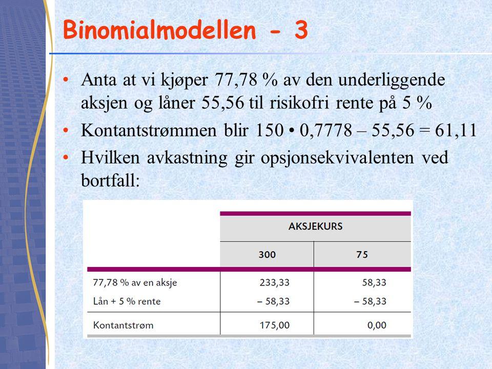 Binomialmodellen - 3 •Anta at vi kjøper 77,78 % av den underliggende aksjen og låner 55,56 til risikofri rente på 5 % •Kontantstrømmen blir 150 • 0,77