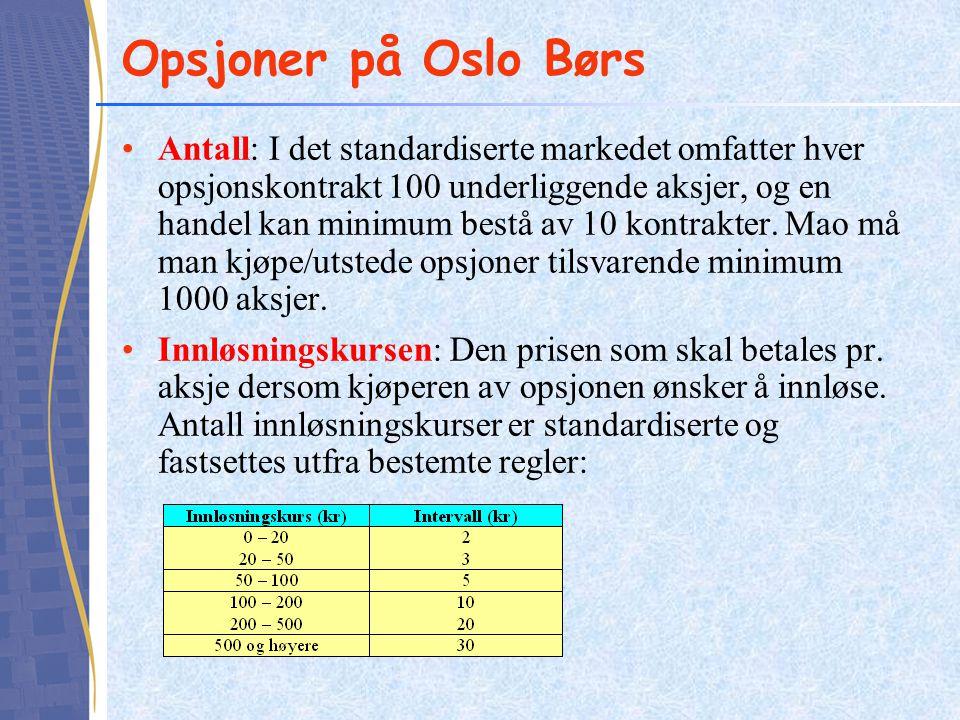 Opsjoner på Oslo Børs •Antall: I det standardiserte markedet omfatter hver opsjonskontrakt 100 underliggende aksjer, og en handel kan minimum bestå av