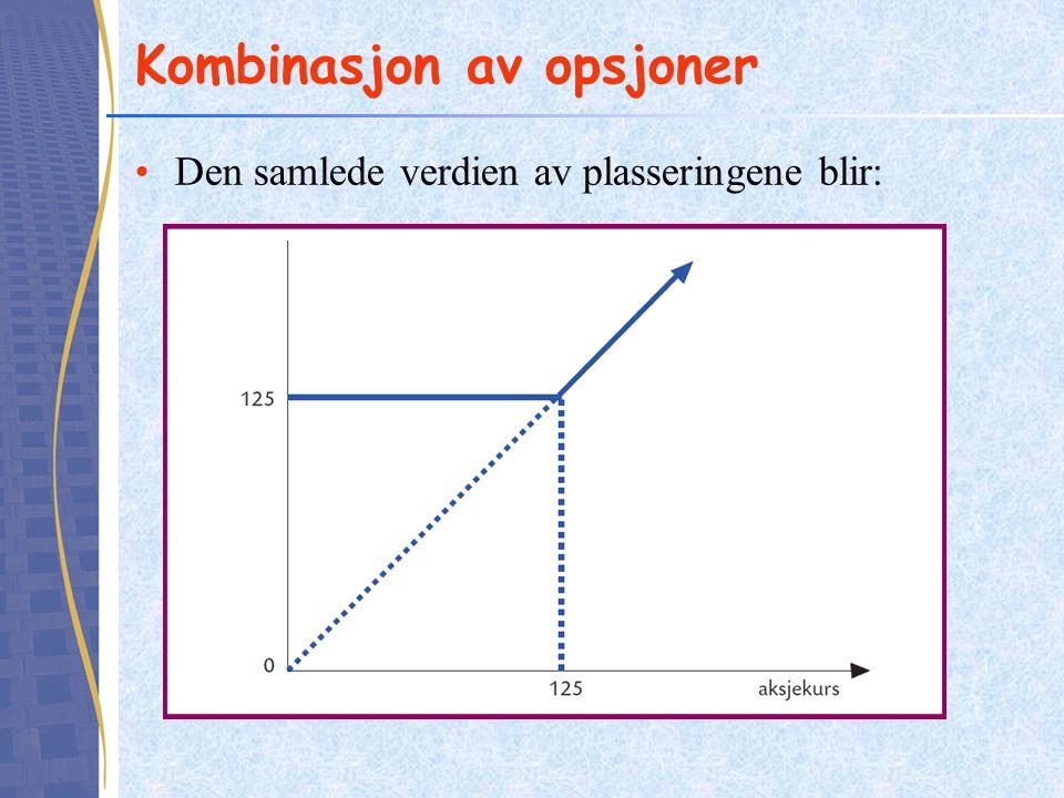 Kombinasjon av opsjoner •Den samlede verdien av plasseringene blir: