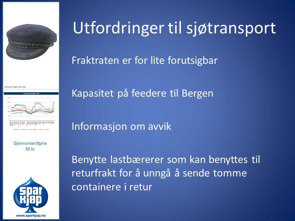 Utfordringer til sjøtransport Fraktraten er for lite forutsigbar Kapasitet på feedere til Bergen Informasjon om avvik Benytte lastbærerer som kan beny