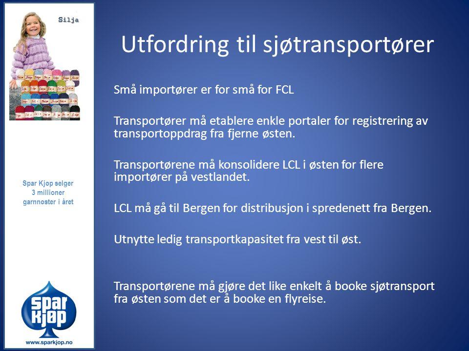 Utfordring til sjøtransportører Små importører er for små for FCL Transportører må etablere enkle portaler for registrering av transportoppdrag fra fj