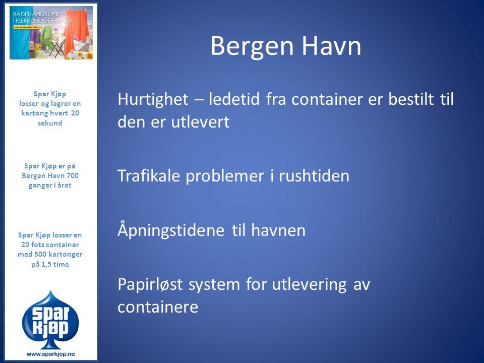 Bergen Havn Hurtighet – ledetid fra container er bestilt til den er utlevert Trafikale problemer i rushtiden Åpningstidene til havnen Papirløst system