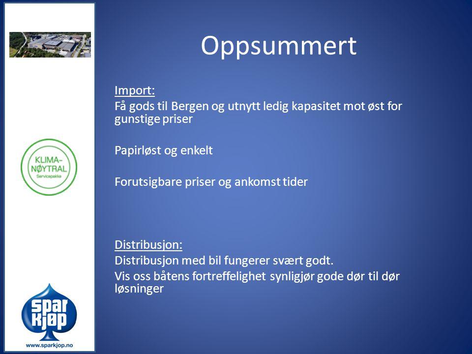 Oppsummert Import: Få gods til Bergen og utnytt ledig kapasitet mot øst for gunstige priser Papirløst og enkelt Forutsigbare priser og ankomst tider D