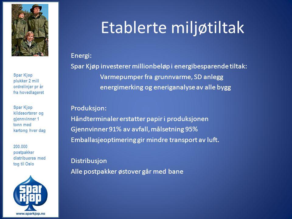 Etablerte miljøtiltak Energi: Spar Kjøp investerer millionbeløp i energibesparende tiltak: Varmepumper fra grunnvarme, SD anlegg energimerking og ener