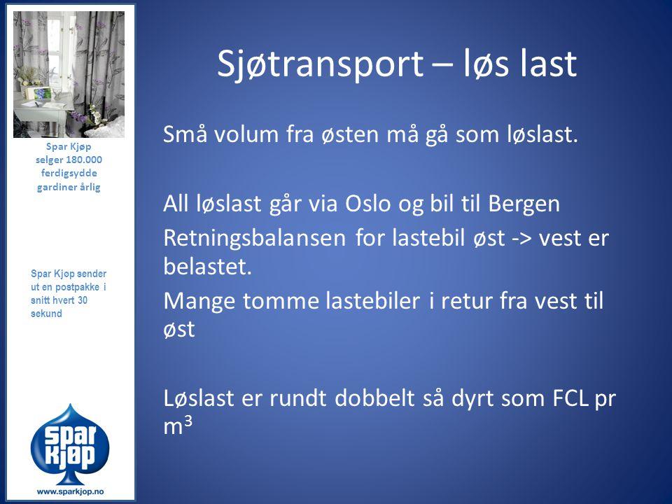 Sjøtransport – løs last Små volum fra østen må gå som løslast. All løslast går via Oslo og bil til Bergen Retningsbalansen for lastebil øst -> vest er