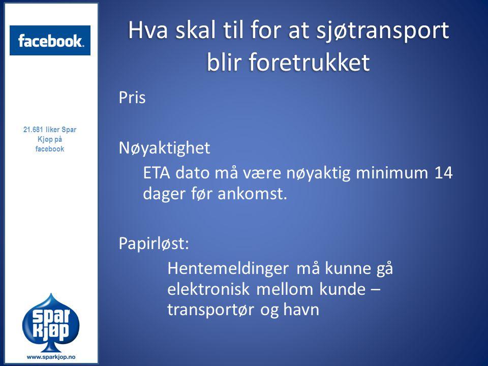 Utfordringer til sjøtransport Fraktraten er for lite forutsigbar Kapasitet på feedere til Bergen Informasjon om avvik Benytte lastbærerer som kan benyttes til returfrakt for å unngå å sende tomme containere i retur Gjennomsnittpris 59 kr