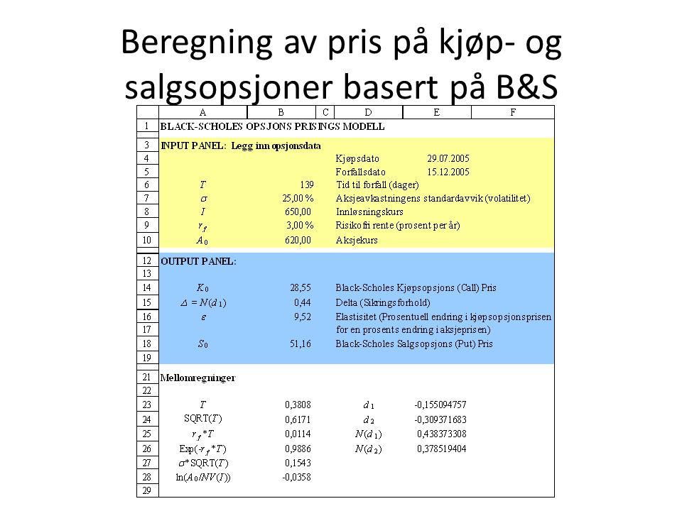 Beregning av pris på kjøp- og salgsopsjoner basert på B&S