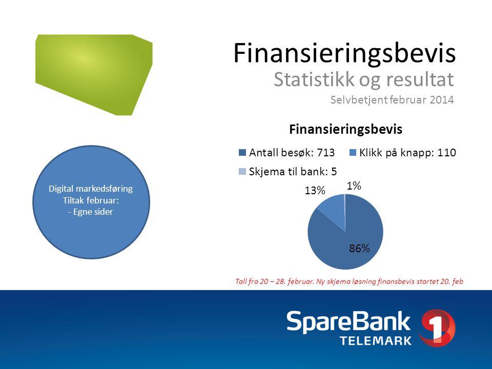Finansieringsbevis Statistikk og resultat Selvbetjent februar 2014 Tall fra 20 – 28. februar. Ny skjema løsning finansbevis startet 20. feb Digital ma