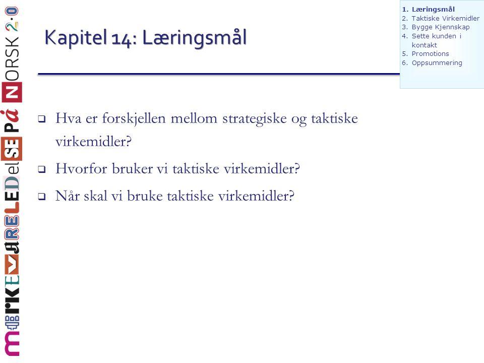 Kapitel 14: Læringsmål  Hva er forskjellen mellom strategiske og taktiske virkemidler?  Hvorfor bruker vi taktiske virkemidler?  Når skal vi bruke