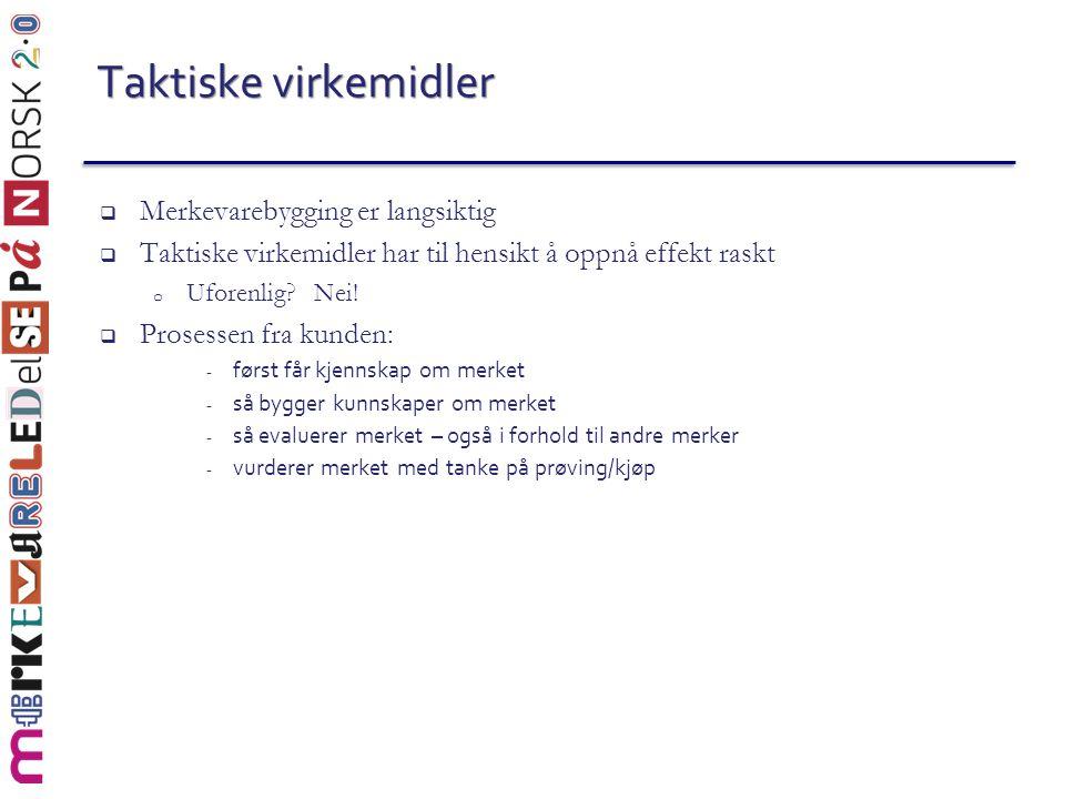  To viktige inndelinger 1.Skal tiltaket stimulere til: - prøving/prøvekjøp - gjenkjøp/merkjøp 2.