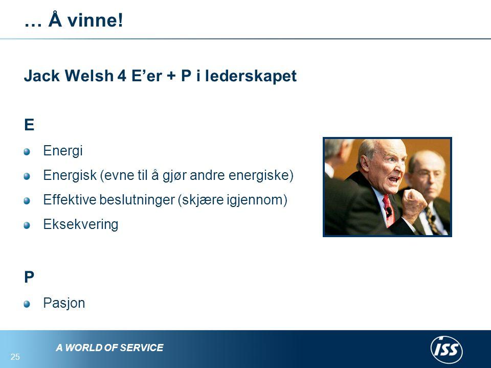 A WORLD OF SERVICE 25 … Å vinne.