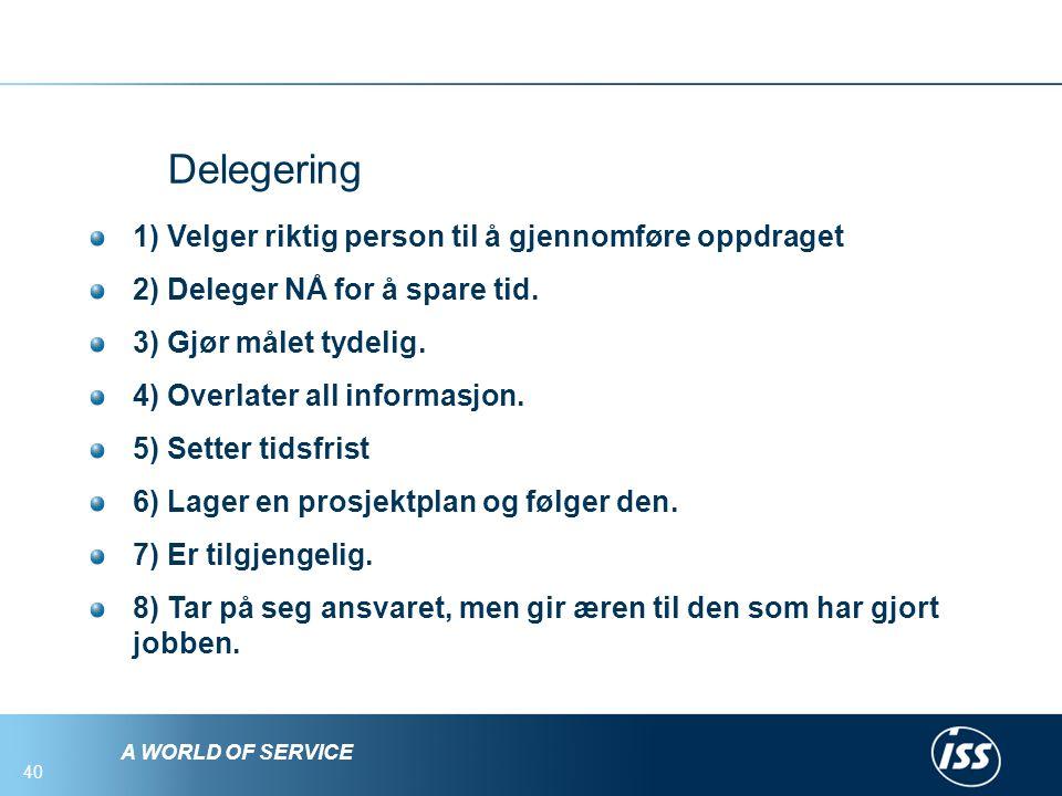 A WORLD OF SERVICE 40 Delegering 1) Velger riktig person til å gjennomføre oppdraget 2) Deleger NÅ for å spare tid.