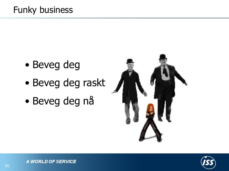 A WORLD OF SERVICE 45 Funky business • Beveg deg • Beveg deg raskt • Beveg deg nå