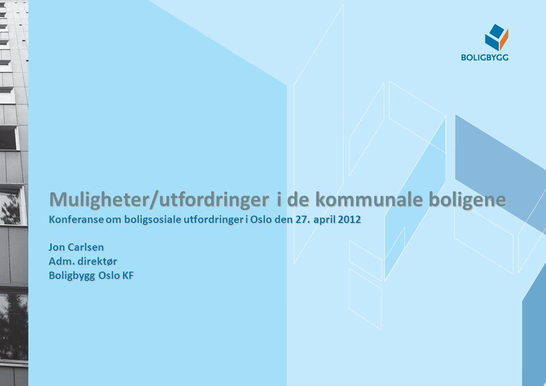 Muligheter/utfordringer i de kommunale boligene Konferanse om boligsosiale utfordringer i Oslo den 27. april 2012 Jon Carlsen Adm. direktør Boligbygg