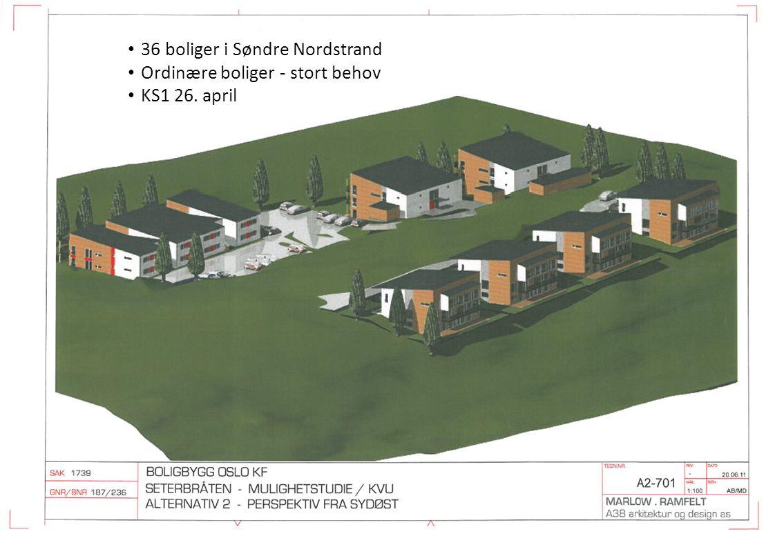 • 36 boliger i Søndre Nordstrand • Ordinære boliger - stort behov • KS1 26. april