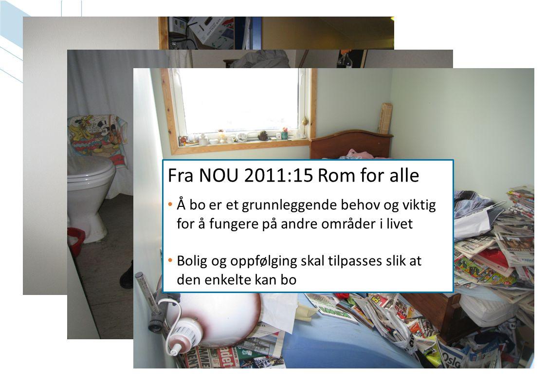 Fra NOU 2011:15 Rom for alle • Å bo er et grunnleggende behov og viktig for å fungere på andre områder i livet • Bolig og oppfølging skal tilpasses sl