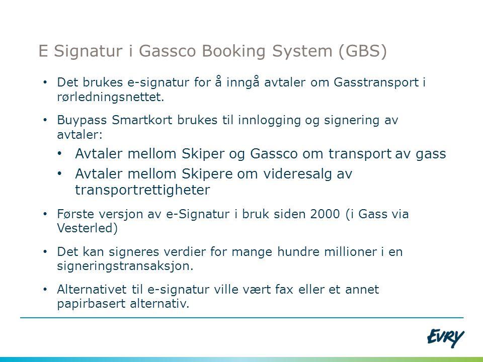 E Signatur i Gassco Booking System (GBS) • Det brukes e-signatur for å inngå avtaler om Gasstransport i rørledningsnettet. • Buypass Smartkort brukes