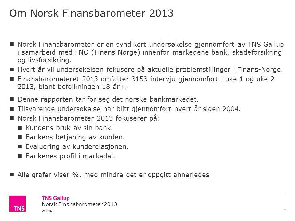 Norsk Finansbarometer 2013 © TNS Om Norsk Finansbarometer 2013 2  Norsk Finansbarometer er en syndikert undersøkelse gjennomført av TNS Gallup i samarbeid med FNO (Finans Norge) innenfor markedene bank, skadeforsikring og livsforsikring.