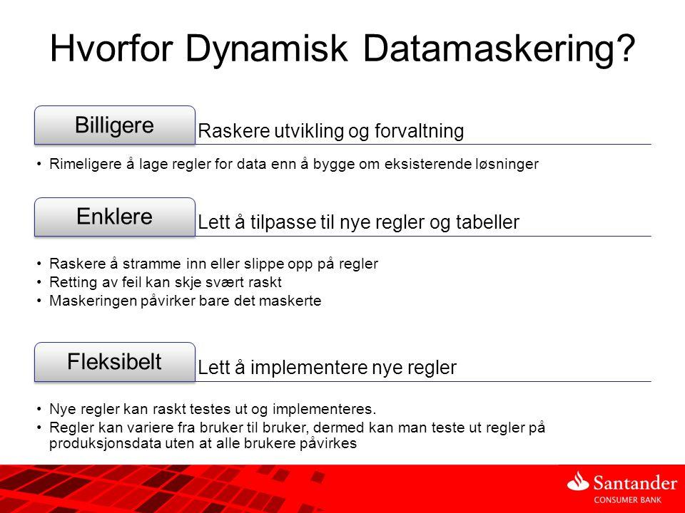 Hvorfor Dynamisk Datamaskering? Raskere utvikling og forvaltning Billigere •Rimeligere å lage regler for data enn å bygge om eksisterende løsninger Le