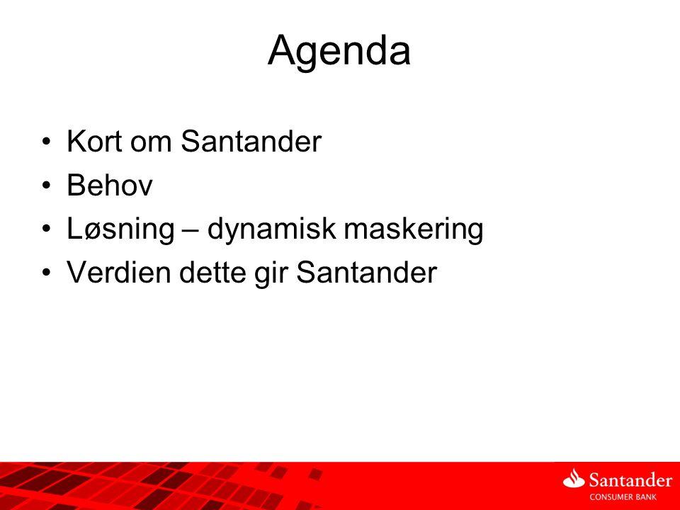 Agenda •Kort om Santander •Behov •Løsning – dynamisk maskering •Verdien dette gir Santander