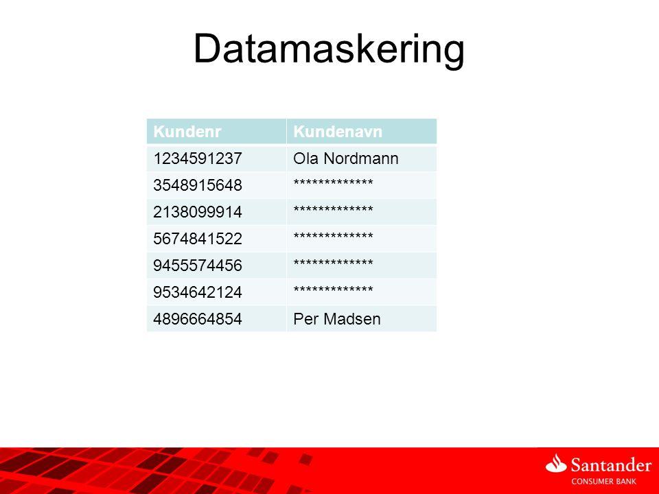 Datamaskering KundenrKundenavn 1234591237Ola Nordmann 3548915648************* 2138099914************* 5674841522************* 9455574456*************