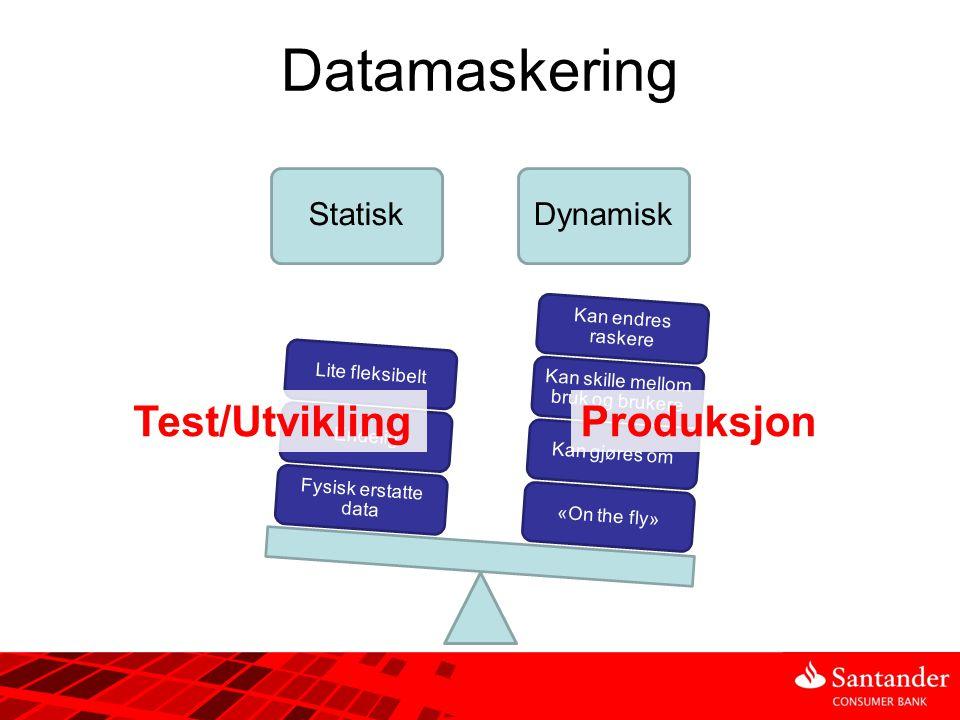 Datamaskering StatiskDynamisk «On the fly»Kan gjøres om Kan skille mellom bruk og brukere Kan endres raskere Fysisk erstatte data EndeligLite fleksibe