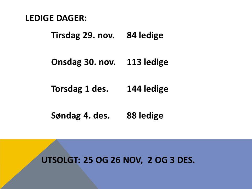 LEDIGE DAGER: UTSOLGT: 25 OG 26 NOV, 2 OG 3 DES.Tirsdag 29.