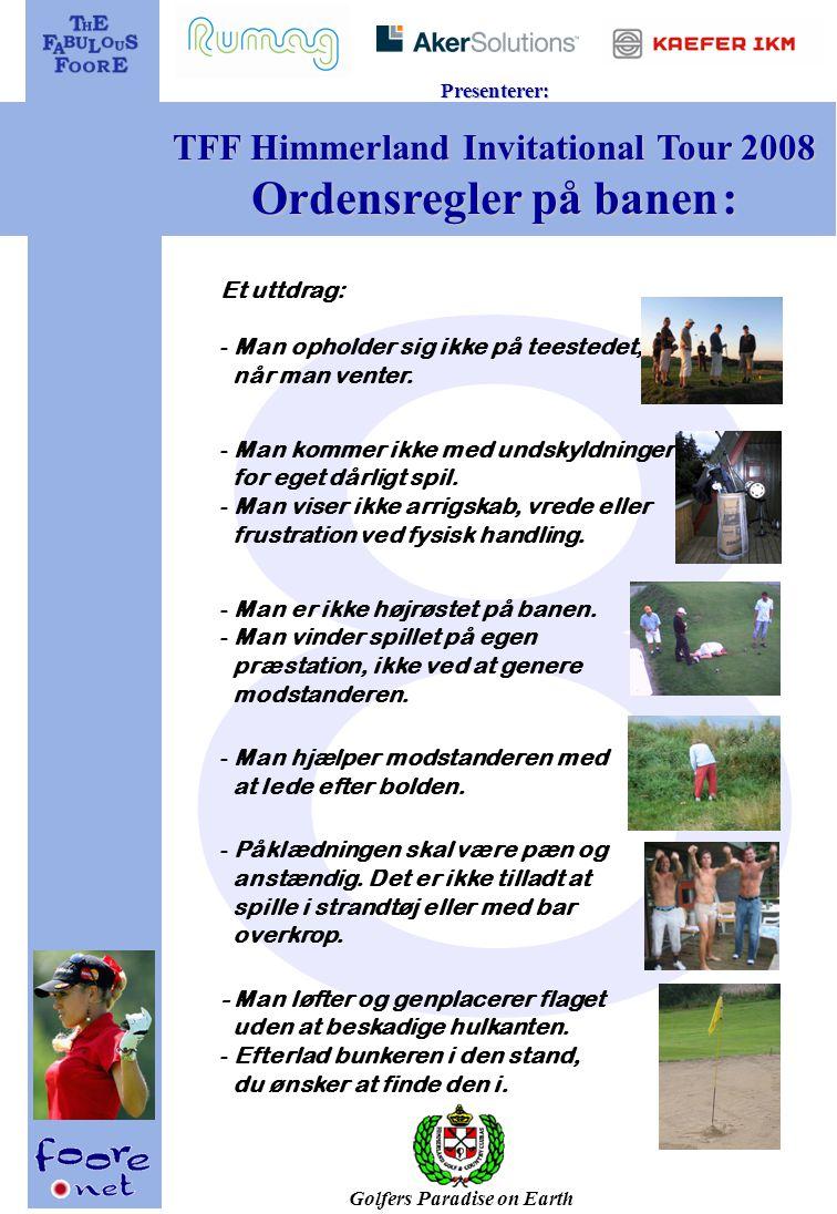 Golfers Paradise on Earth Presenterer: TFF Himmerland Invitational Tour 2008 Område oversikt: (For førstegangsreisende og andre trengende) 1 2 3 4 5 6 7 8 9 10 11 12 13 14 15 16 17 18 14 16 15 17 18 200m New Course Old Course 13 12 11 10 9 4 5 6 7 8 3 2 1 Centeret Nye Golfhus