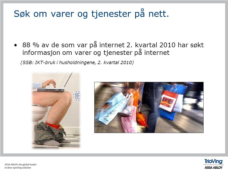 Søk om varer og tjenester på nett. •88 % av de som var på internet 2. kvartal 2010 har søkt informasjon om varer og tjenester på internet (SSB: IKT-br