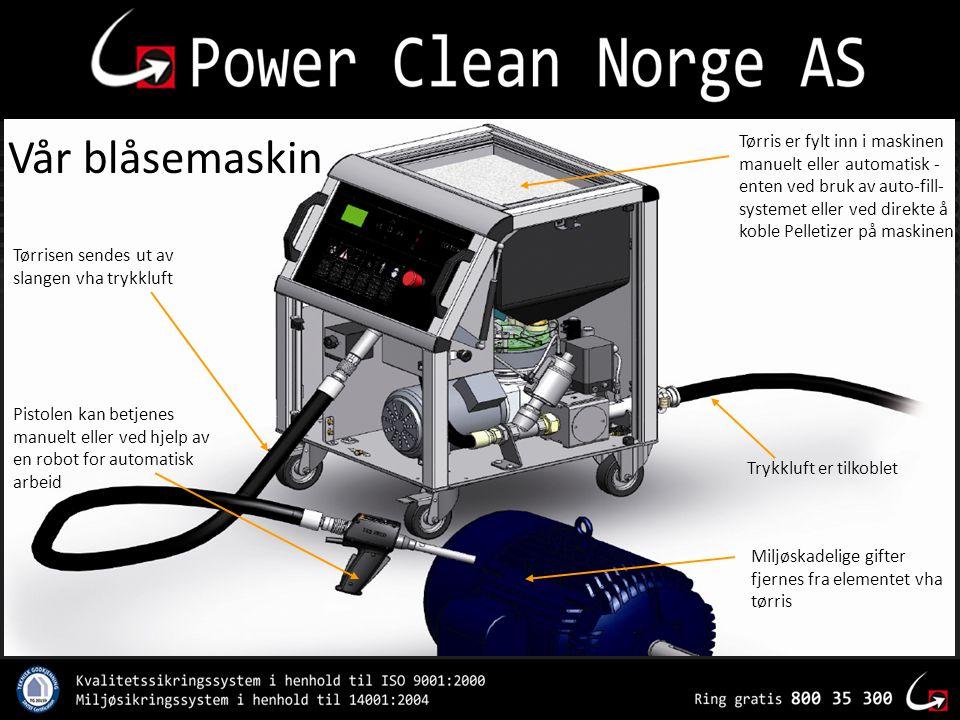 Tørris er fylt inn i maskinen manuelt eller automatisk - enten ved bruk av auto-fill- systemet eller ved direkte å koble Pelletizer på maskinen Miljøs