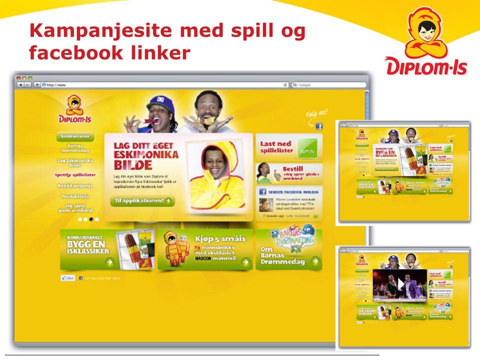 Kampanjesite med spill og facebook linker