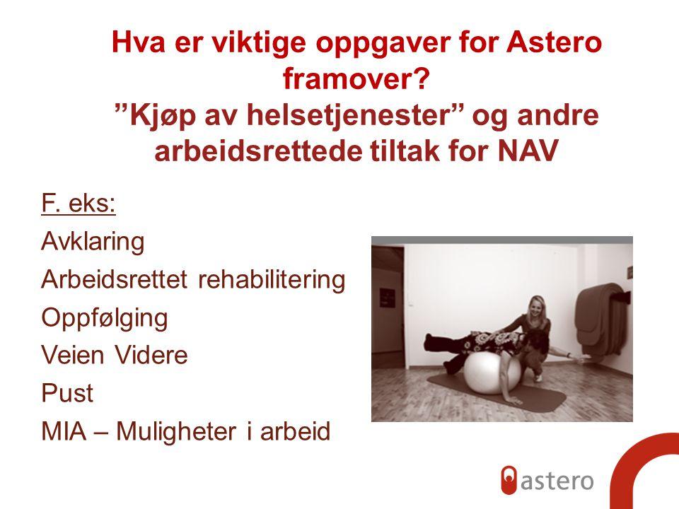 """Hva er viktige oppgaver for Astero framover? """"Kjøp av helsetjenester"""" og andre arbeidsrettede tiltak for NAV F. eks: Avklaring Arbeidsrettet rehabilit"""