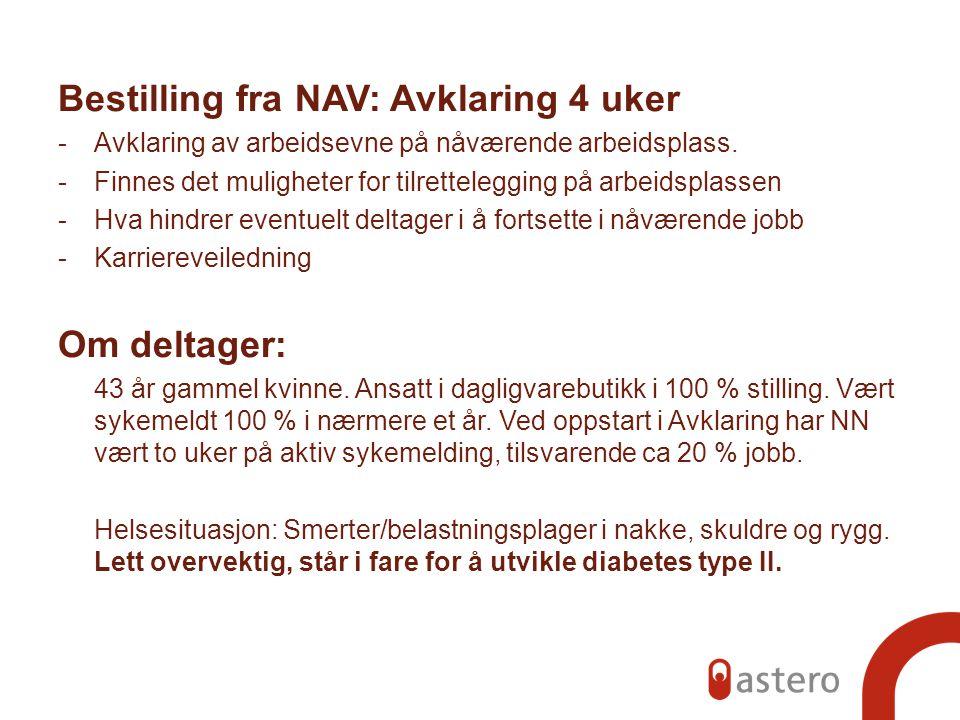 Bestilling fra NAV: Avklaring 4 uker -Avklaring av arbeidsevne på nåværende arbeidsplass. -Finnes det muligheter for tilrettelegging på arbeidsplassen