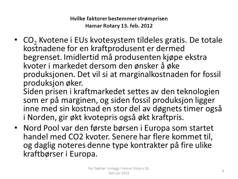 Hvilke faktorer bestemmer strømprisen Hamar Rotary 13. feb. 2012 • CO 2 Kvotene i EUs kvotesystem tildeles gratis. De totale kostnadene for en kraftpr