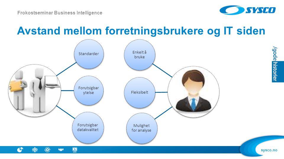 sysco.no Avstand mellom forretningsbrukere og IT siden Frokostseminar Business Intelligence Standarder Forutsigbar ytelse Forutsigbar datakvalitet Enk