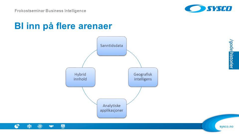sysco.no BI inn på flere arenaer Frokostseminar Business Intelligence Sanntidsdata Geografisk intelligens Analytiske applikasjoner Hybrid innhold
