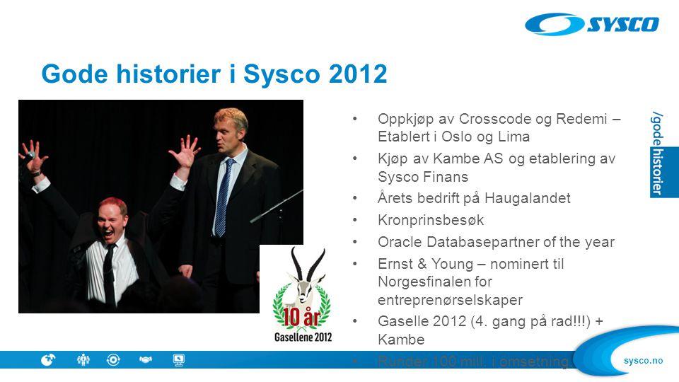 sysco.no •Oppkjøp av Crosscode og Redemi – Etablert i Oslo og Lima •Kjøp av Kambe AS og etablering av Sysco Finans •Årets bedrift på Haugalandet •Kron