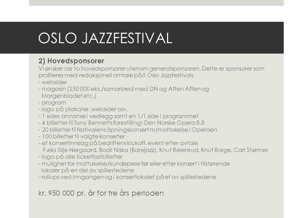 OSLO JAZZFESTIVAL 3) Enkeltkonserter Vi ønsker oss sponsorer til noen enkeltkonserter.